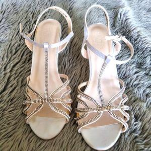 David's Bridal white satin bling wedges Size 8